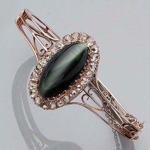 A Quartz Cat's Eye and Diamond Bangle