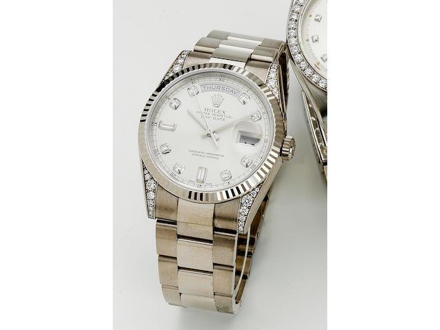 "Rolex. A fine 18ct white gold and diamond set calendar bracelet watch ""Day Date"", Ref:118339, recent 36mm."