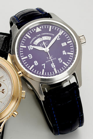 "IWC.An Aviator's fine and rare limited edition platinum two time zone automatic centre seconds wristwatch  ""UTC"", Ref:3521. No.234/500, 1990s 40mm. Produced in a limited edition of 500 examples in the 1990's."