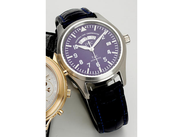 """IWC.An Aviator's fine and rare limited edition platinum two time zone automatic centre seconds wristwatch  """"UTC"""", Ref:3521. No.234/500, 1990s 40mm. Produced in a limited edition of 500 examples in the 1990's."""