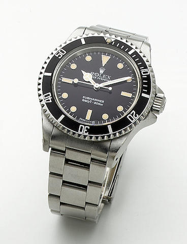 "Rolex. A stainless steel automatic wristwatch ""Submariner"" Ref:5512, 1980s 44mm."