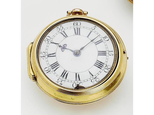An early/mid 18th century gold pair cased verge watch D. Delander, London, 562 56mm