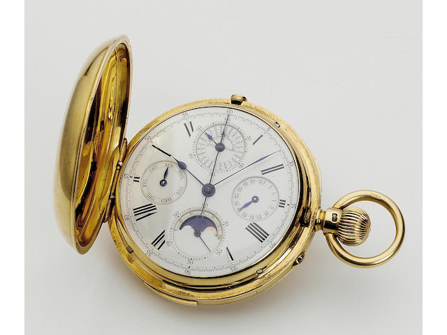 A late 19th century 18ct gold minute repeating, perpetual calendar chronograph with moonphase  the case numbered 1165 53mm