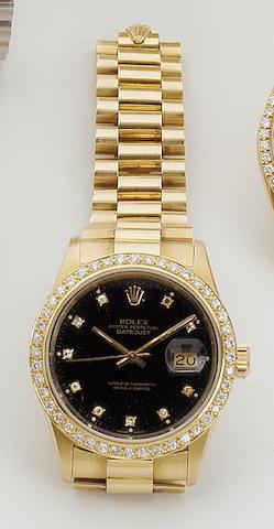 "Rolex. An 18ct gold automatic calendar watch ""Datejust"" Ref:16018, 1980s 38mm."