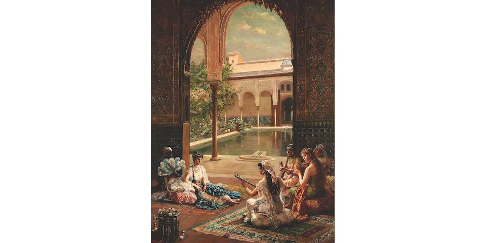 Filippo Baratti (Italian, fl. 1868-1904) La Sultane, Patio de los Arrayanes (Court of Myrtles), The Alhambra Palace 118 x 89.5 cm. (46 1/2 x 35 1/4 in.)