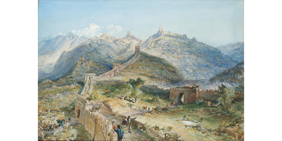 William Simpson R.I. R.B.A. (British, 1823-1899) The Great Wall of China 53 x 75 cm. (21 x 30 in.)