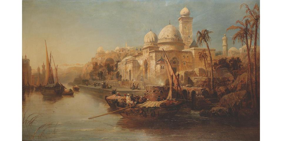 James Webb (British, 1825-1895) Arab vessels moored at the steps of a moorish palace 91.4 x 152.4 cm. (36 x 60 in.)