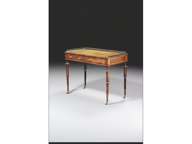 A Regency rosewood and brass inlaid Writing Desk, in the manner of John McLean,