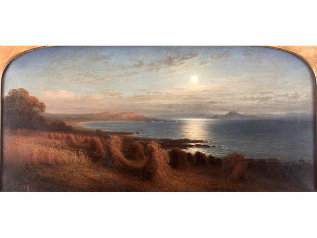 "Waller Hugh Paton R.S.A. R.S.W. (1828-1895) ""Corn sheaves by the coast, moonlight"" 47cm x 101cm (18.5in. x 39.75in.)"