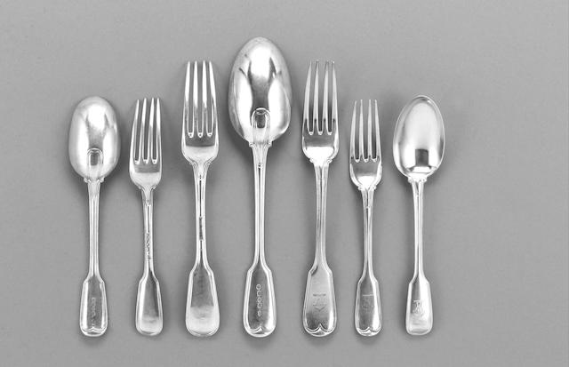 A Victorian silver Military Fiddle and Thread pattern table service of flatware, by George Adams, London 1864 - 1866,
