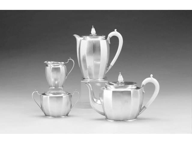 A good four piece silver tea set, Sheffield 1935,