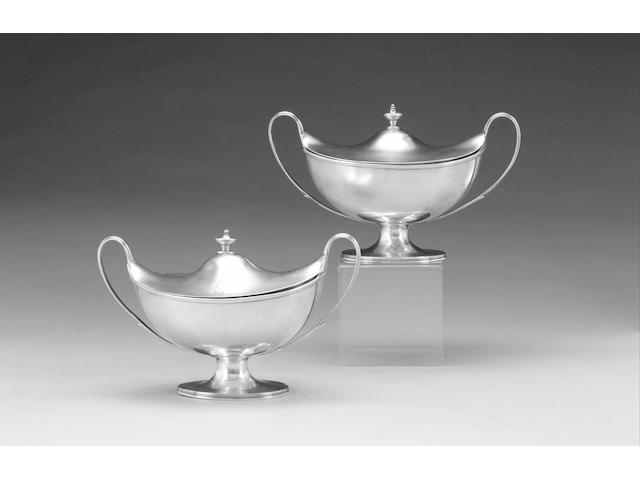 A pair of George III silver sauce tureens and covers, by Henry Nutting, London 1799,
