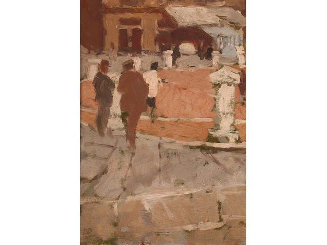 Bernard Dunstan (British, b.1920) The Campo, Siena 30 x 22 cm.