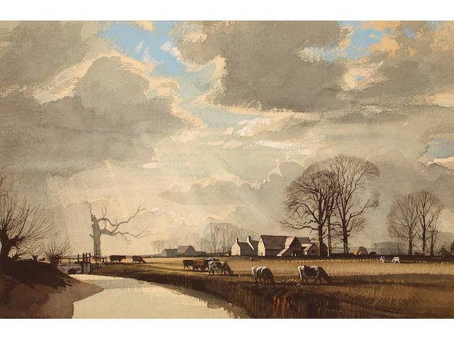 Rowland Hilder (British, 1905-1993) A Farm in Yorkshire 34 x 50 cm.