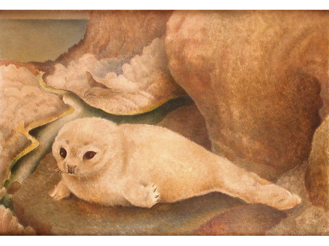 Billie Waters (British, 1896-1979) Seal Pup 35.5 x 51 cm.