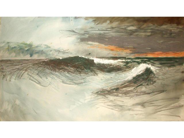 Len Tabner (British, b.1946) Wave- Midnight, Barra 77 x 132 cm.