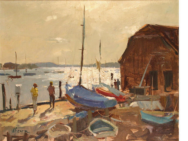Edward Wesson (British, 1910-1983) Afternoon Light, Bosham 41 x 51 cm.