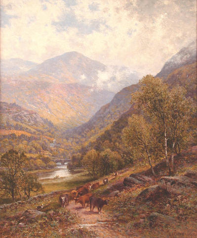 Alfred Augustus Glendening (British, Exh. 1881-1903) A drover with his cattle in a river valley 61 x 50.5cm