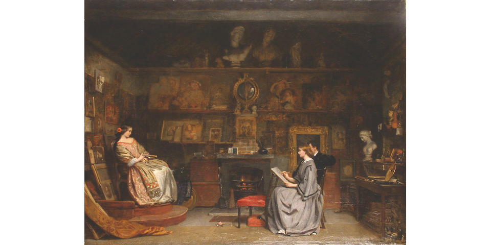 Attributed to James Digman Wingfield (British, 1832-1872) The art teacher,  49.3 x 65cm