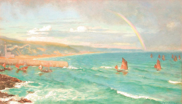 Arthur Hughes (British 1832-1915) Boats going out 26 x 45 cm.