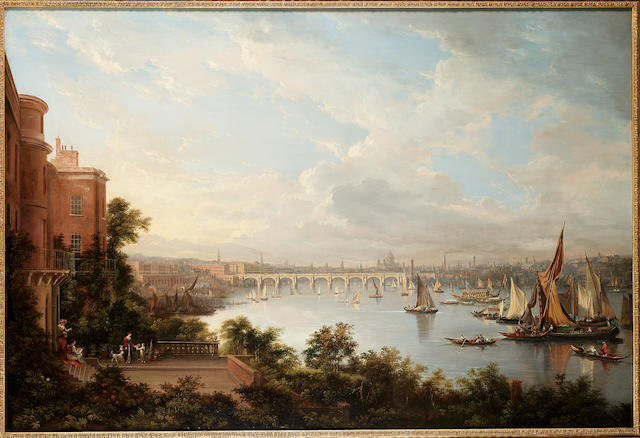 A prospect of London, seen from the Earl of Cassilis's privy garden, with Waterloo bridge beyond