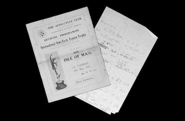 A Isle of Man TT programme dated 1907