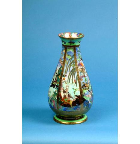 A Wedgwood Fairyland lustre vase printed urn mark, shape number 3451, Z4968, 30 cm high.