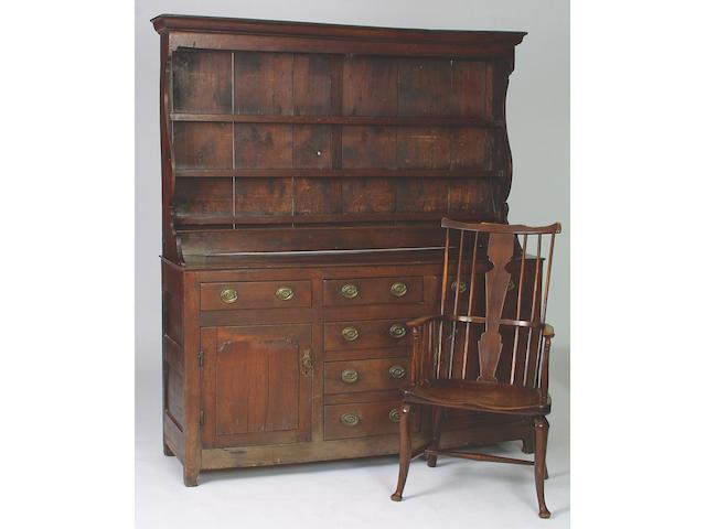 A late 18th Century oak dresser, 192 x 168 x 491/2cm