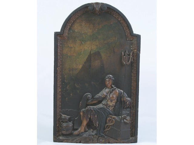 A rare and unusual mid 18th Century painted and carved Inn sign or decorative panel, 75 x 45cm
