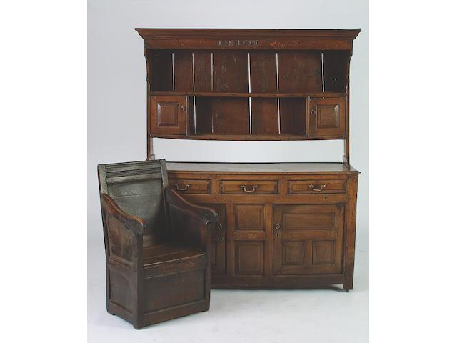 A 18th Century oak high dresser, 187.5 x 156 x 56.5cm