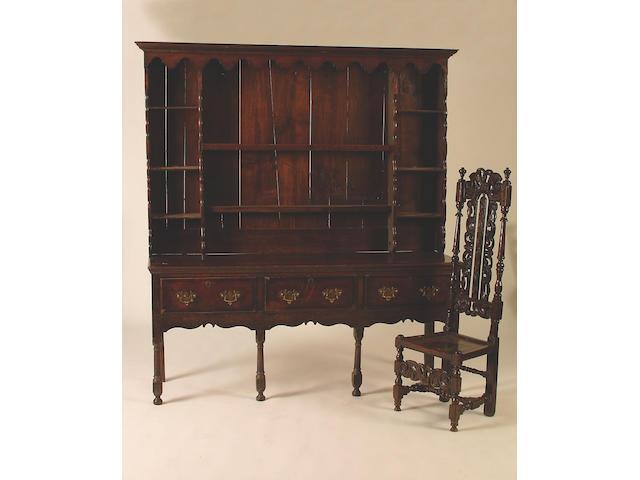 A late 18th Century oak and mahogany crossbanded dresser, 208 x 185 x 54.5cm