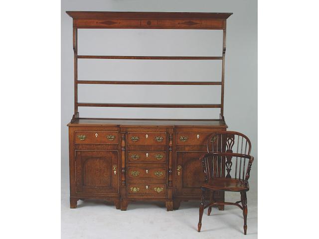 A mid 19th Century oak and alder wood dresser, 216 x 182 x 50cm