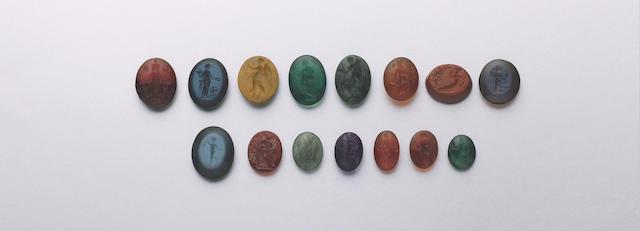 18 Roman intaglios in carnelian, various agates & hardstone, c. 1st-3rd Centuries A.D. (18)