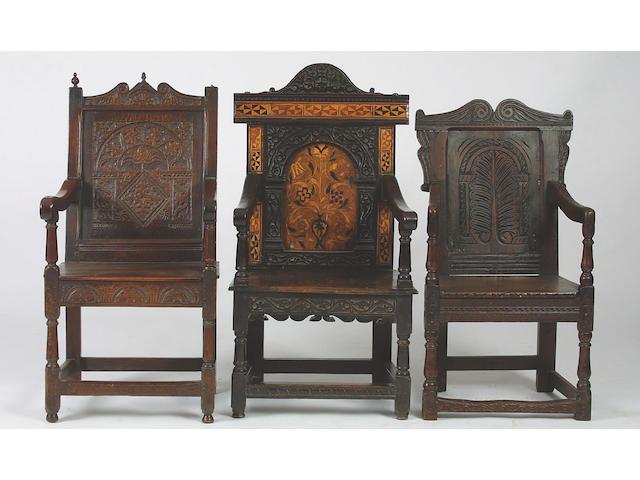 A 17th Century oak wainscot chair,