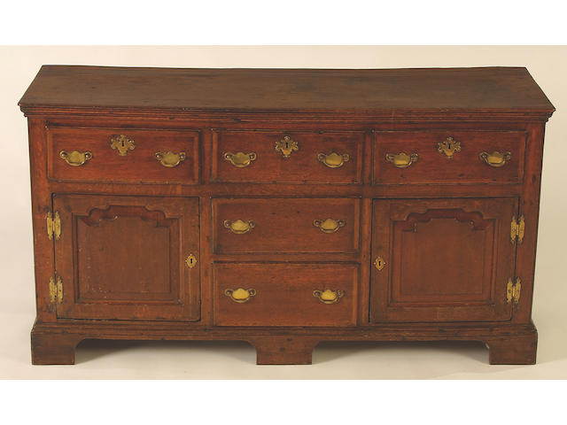 A late 18th Century oak dresser base, 82 x 154 x 52cm