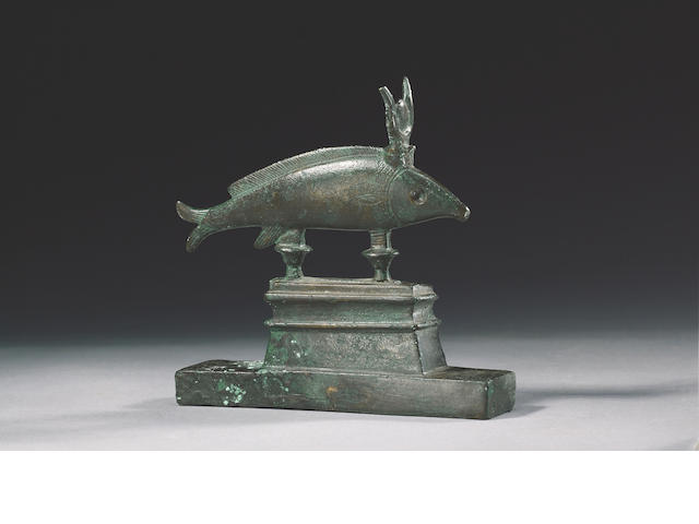 An Egyptian bronze oxyrynchus fish Late Period, after 600 B.C.