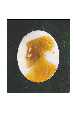 A rare and important sardonyx Portrait Cameo of the Mughal Emperor Shah Jahan (reigned 1628-58) India, circa 1630-40