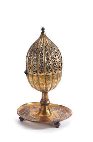 An Ottoman gilt-copper (<i>tombak</i>) Incense Burner Turkey, late 17th Century