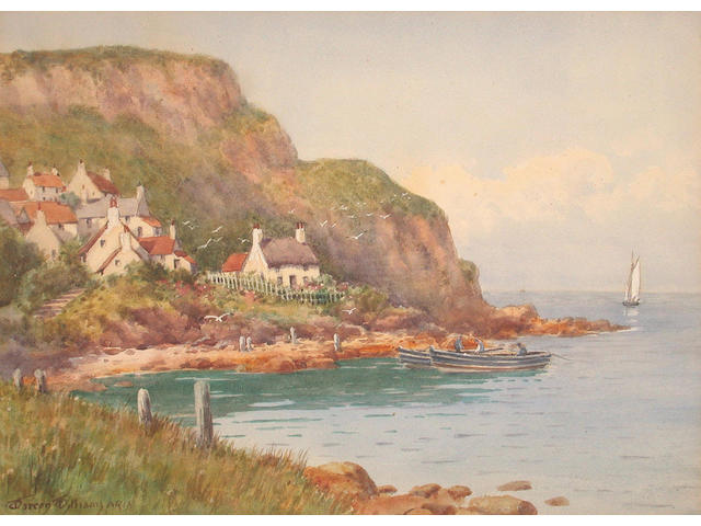 Warren Williams (British, 1863-1918) Runswick Bay, Yorkshire 26 x 36 cm.