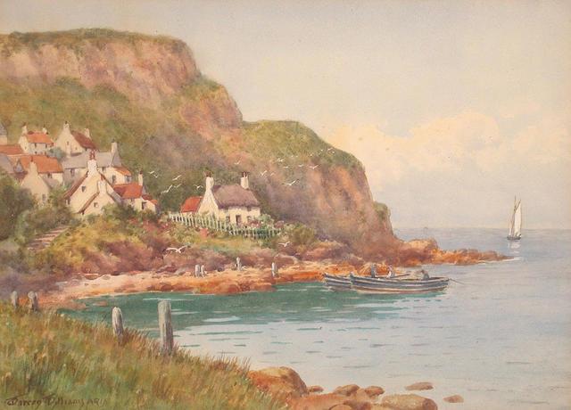 Warren Williams (British, 1863-1918) Runswick Bay, Yorkshire 26 x 36 cm.