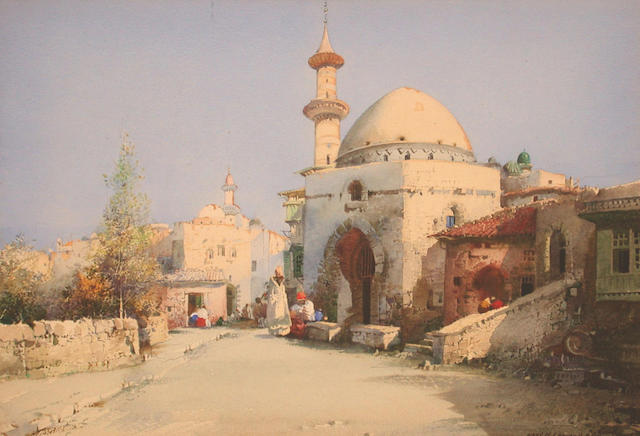 Noel Harry Leaver (British, 1889-1951) Trading on the street 18 x 26 cm.