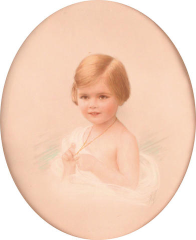 **Hall (British, 20th Century) Portrait of a young girl 29.5 x 24 cm, both oval, (2).