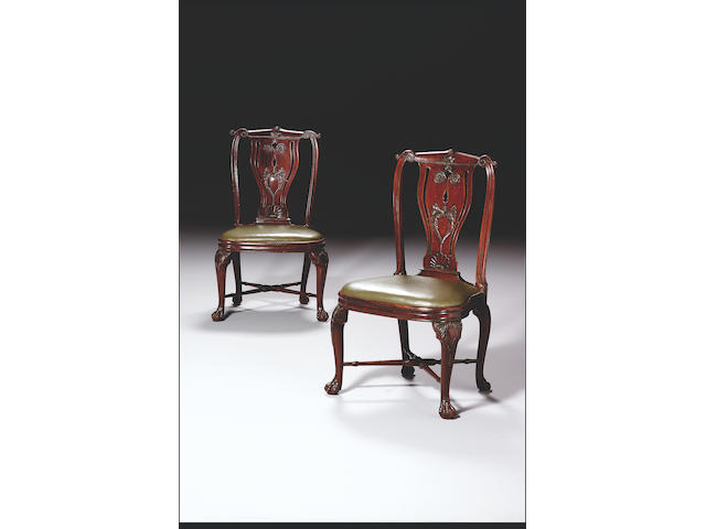 A rare and important pair of 18th century export rosewood Side Chairs, (2)