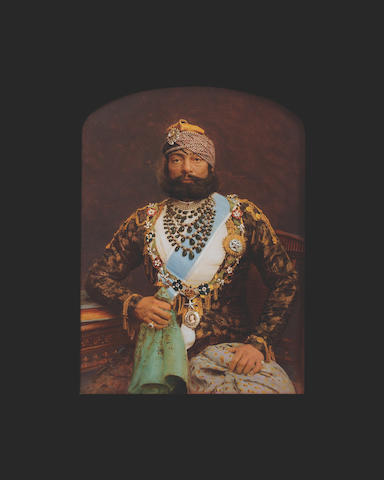 A Portrait of the Maharajah of Patiala wearing the Collar of the GCSI India, circa 1921