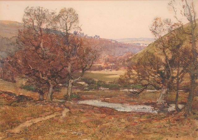 Samuel John Lamorna Birch (British, 1869-1955) Frosty Morning, Vale of East Okement, Okehampton 25 x 35 cm.