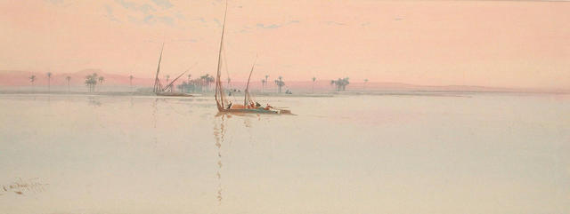 Augustus Osborne Lamplough (British, 1877-1930) After Glow at Luxor 22.5 x 59.5 cm.