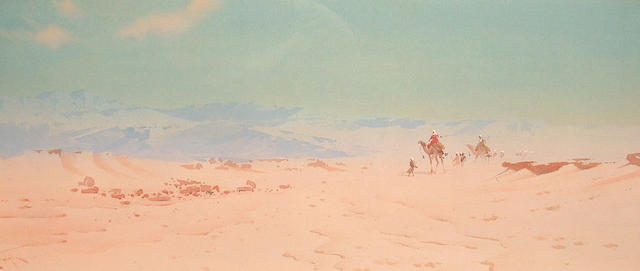 Augustus Osborne Lamplough (British, 1877-1930) Camels crossing the desert 21.5 x 60 cm.