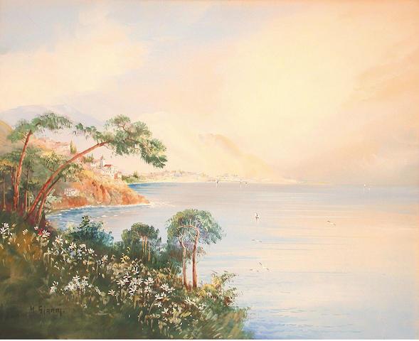Y.Gianni (Italian, circa 1900) Mediterranean coastlines 40.5 x 50.5 cm, both unframed, (2).
