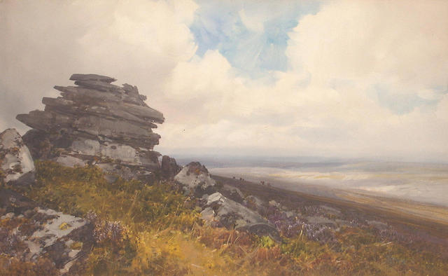 Frederick John Widgery (British, 1861-1942) West Mill Tor, Dartmoor 28.5 x 47 cm.