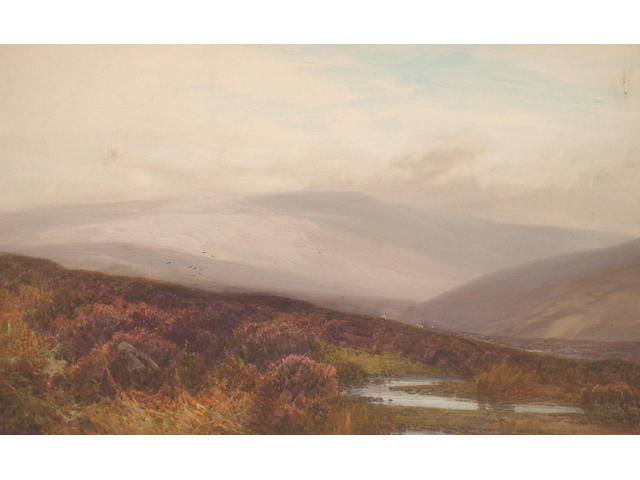 Frederick John Widgery (British, 1861-1942) Moorland landscape 28.5 x 46 cm.